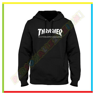 Felpa Hoodie Thrasher Skateboard Magazine Cappuccio E Tasche  Fruit Of The Loom