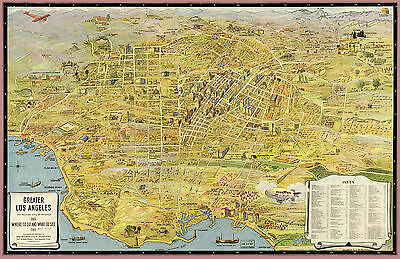 """1932  MAP of Los Angeles CALIFORNIA, Nice size 24""""x16"""", AMERICA History, Pacific"""