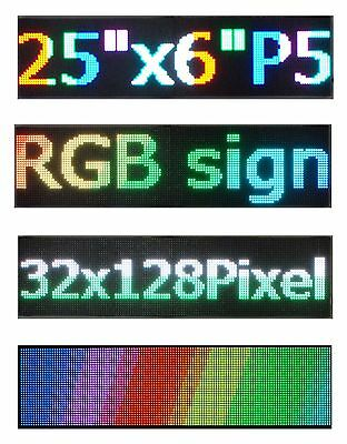 "LED Sign P5 HD Full Color 25""x 6.5"" RGB Programmable Scrolling  Message Display"