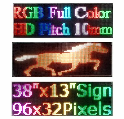 "LED Sign Full Color 38""x 12"" P10 HD RGB Programmable Scrolling  Message Display"