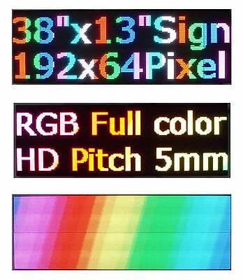 "LED Sign P5 Full Color Indoor 38""x 12"" Programmable Scrolling Message Display"