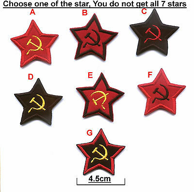 BUY TWO GET ONE FREE Embroidered Soviet Star USSR Russian Hammer & Sickle Patch