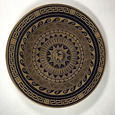 "Greek Replica Plate 11.5"" Union of Greek Ceramists Keramikos Nassos Rodos 24K"
