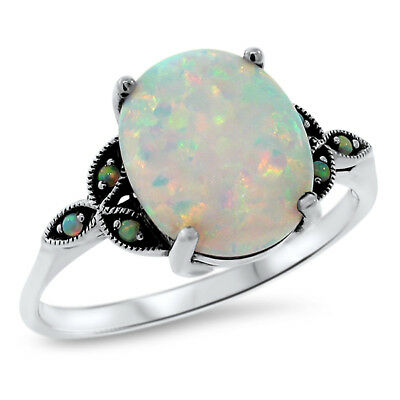 Victorian Ring .925 Sterling Silver Lab Opal Antique Style Ring Size 10,    #581