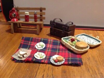 Dolls House Picnic With Basket, Bench, Blanket, Sandwiches And Car Case