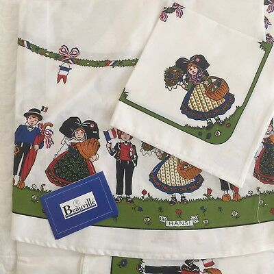 "NEW Beauville Alsace Hansi Round Tablecloth 63"" + 8 Napkins French Children Flag"
