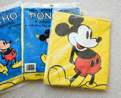 3 Vintage NEW Walt Disney World Mickey Mouse Yellow Adult PONCHO s Theme Parks