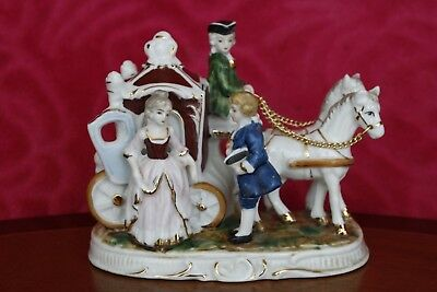 Vintage Porcelain Figurine Courting Victorian Couple Horse Carriage