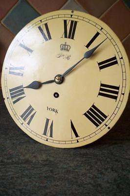 ANTIQUE YORK RAILWAY 10 INCH FUSEE DROP DIAL WALL CLOCK  MOVEMENT & DIAL c1860