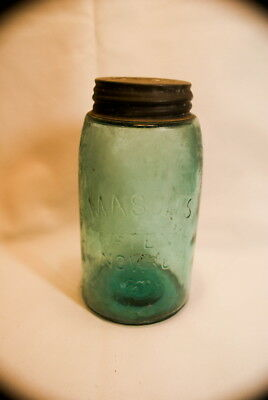Original 1858 Masons Glass Lidded Jar