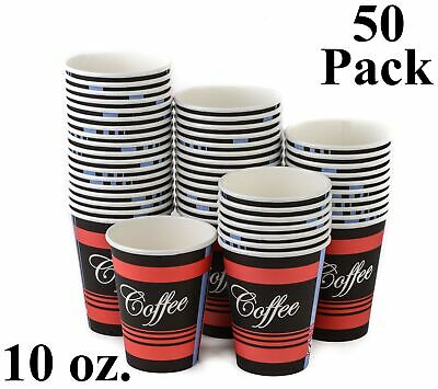 50 Ct. 10 Oz. Poly Paper Hot Tea Coffee Cups Eco Friendly Disposable (No Lids)