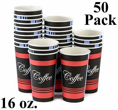 50 Pack 16 Oz. Eco Friendly Disposable Poly Paper Hot Tea Coffee Cups (No Lids)