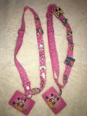 Lot Of 2 Minnie Mouse Lanyards and 15 Disney Trading Pins