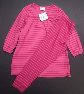 Hanna Andersson Girls Size 110 and 120 Opposite stripe leggings dress set Pink
