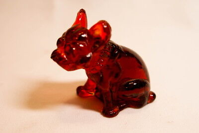 Vintage 1920 Red Glass French Bulldog Figure
