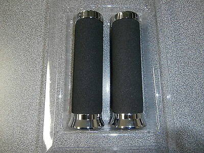 """New Chrome And Foam Motorcycle Handlebar Hand Grips 1"""" In. Bar 6 1/4 In Long"""