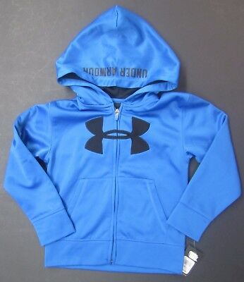 Under Armour Boys Zip Up Hooded Jacket Blue Black Size 6