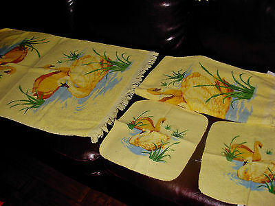 AWESOME 5 CANNON YELLOW BATHROOM  SWAN TOWELS Mid - Century retro 1950'S