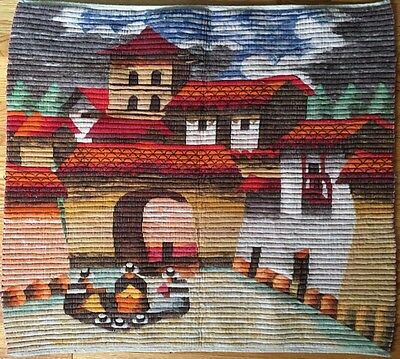 Vintage Alpaca Fashions Wool Woven Wall Hanging Textile Art 38 x 38 Made in Peru