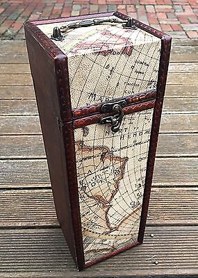 Portable World Map Vintage Retro Wooden Wine Box Case - Exquisite and Beautiful!