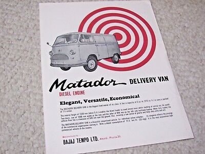 1970's BAJAJ MATADOR VAN (INDIA) SALES BROCHURE