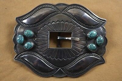 Large Vintage Navajo Silver and Turquoise Belt Buckle - Harry Morgan