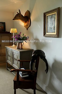 Exquisite Antique Edwardian 'French Painted' Two Door Oak Cupboard