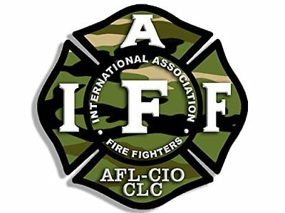 4x4 inch CAMO Maltese Shaped IAFF AFL CIO Sticker - fire firefighter camoflauge