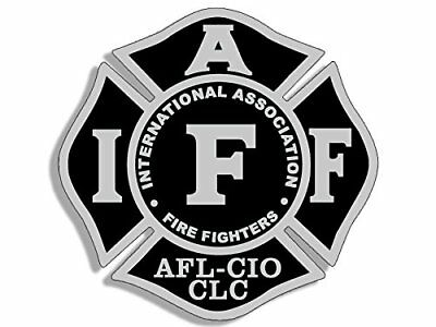 4x4 inch BLACK & GRAY Maltese Shaped IAFF AFL CIO Sticker -logo fire firefighter