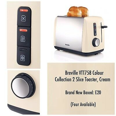 Breville VTT758 Colour Collection 2 Slice Toaster Cream Brand New Boxed Free P&P
