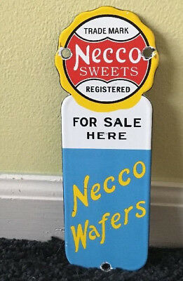 """Vintage Necco Sweets & Wafers 9"""" X 3"""" Porcelain Metal Candy & Gas Door Push Sign"""