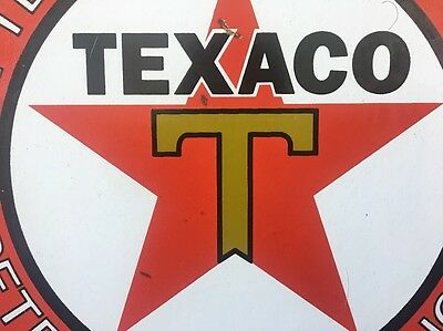 "Vintage Texaco Petroleum Products 9"" Porcelain Metal Gasoline & Oil Sign! Gas Nr"