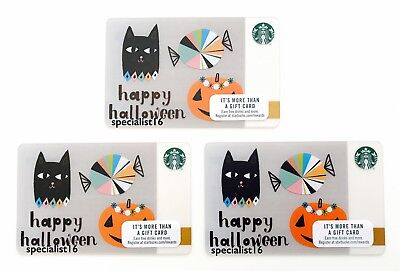 2017 Starbucks US 3 Happy Halloween First Issue Jack O Lantern Card New Set Lot