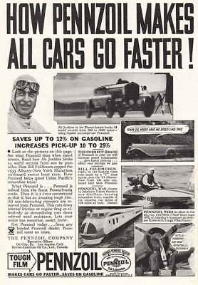 1934 Pennzoil: Makes All Cars Go Faster, Ab Jenkins (5803) Print Ad