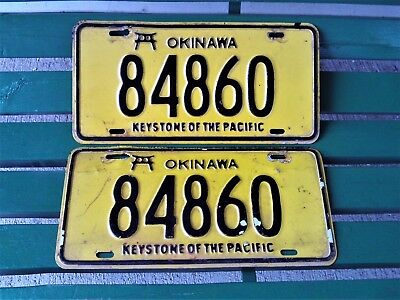 Vintage Okinawa Keystone Of The Pacific License Plate Set Pair Us Forces Japan