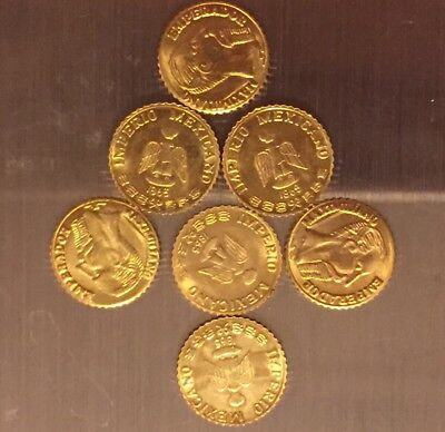 7 Gold HGE Coins 1800's 10mm Small Coins Rare? Old Tokens Mexico Maximillian
