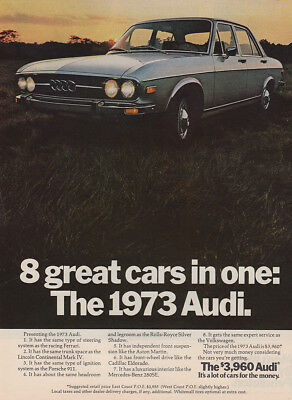 1973 Audi: 8 Great Cars In One (29897) Print Ad