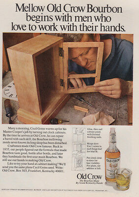 1970 Old Crow Bourbon: Men Who Love To Work With Their Hands (27336) Print Ad