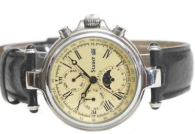 Stauer Silver Finished Graves Date Moon Phase Calander Automatic Watch