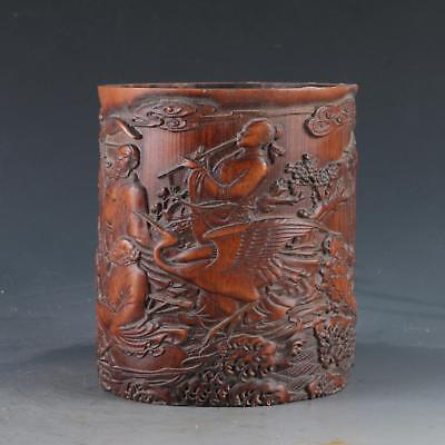 Chinese Bamboo Pole Hand Carved Eight Immortals Cross The Sea Brush pot DY0365