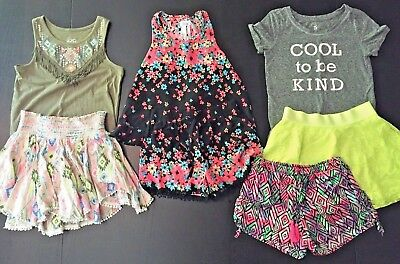 JUSTICE GIRLS SIZE 10 Lot 7 piece: 2 outfits, shorts, skorts, tops