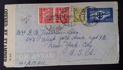 1943 Portugal Censor Cover ties 4 stamps canc Sintra to New York USA