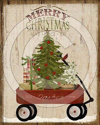 Primitive Folk Art Little Red Wagon Merry Christmas Tree Gifts - PRINT ONLY 8x10