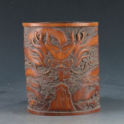 Chinese Bamboo Pole Hand Carved Dragon Brush pot DY0361