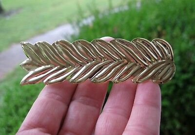 Vtg New Gold Lightweight Leaf Design Metal Hair Barrette French Clip 1980's Nos
