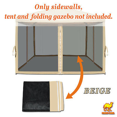 4 pack Canopy Side Panels for 10'x10' Pop Up Tent Gazebo House Mesh Screen Walls