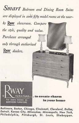 1951 Rway Furniture: Smart Bedroom and Dining Room Suite (21190) Print Ad