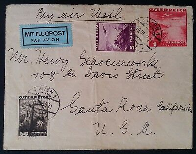 SCARCE 1936 Austria Airmail Cover ties 3 Airmail stamps canc Vienna