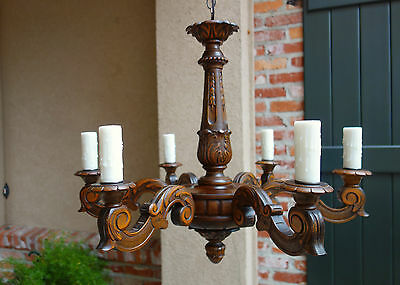 Large Antique FRENCH Carved Wood Chandelier Light Fixture Vintage Country 6 arm