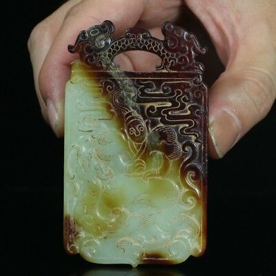 China Exquisite Hand-carved Ancient people carving Hetian jade Pendant / statue